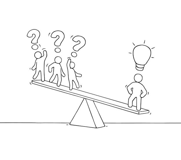 Szkic pracujących małych ludzi na ilustracji skali