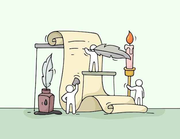 Szkic pracujących małych ludzi z dokumentem. doodle śliczna miniatura pracy zespołowej.