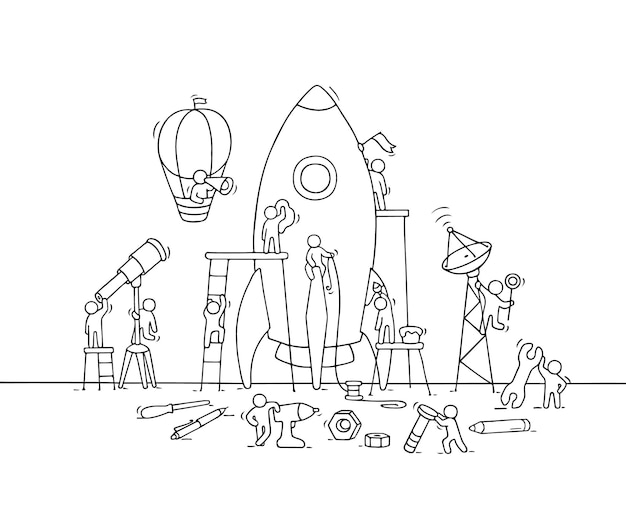 Szkic pracujących małych ludzi z dużą rakietą. doodle scena pracowników z koncepcją uruchamiania.