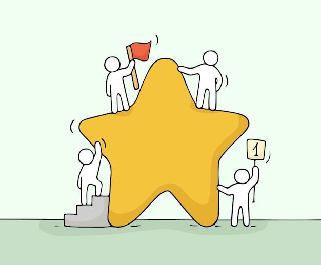Szkic pracujących małych ludzi z gwiazdą, praca zespołowa.