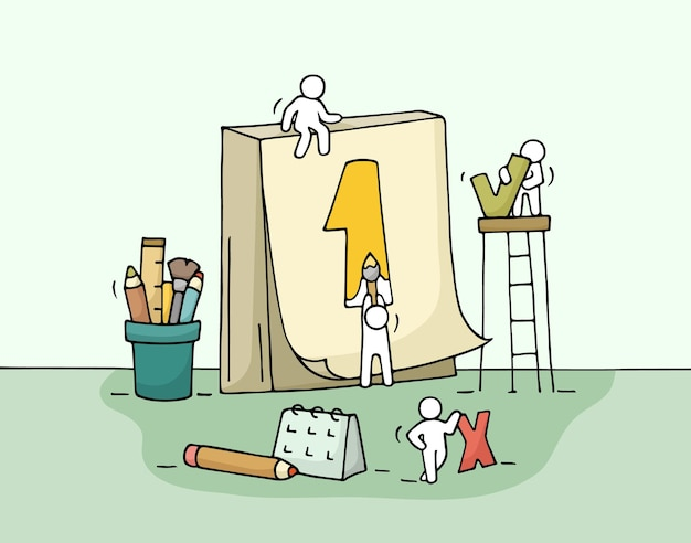 Szkic pracujących małych ludzi z kalendarzem i materiałami biurowymi. rysuj uroczą miniaturową pracę zespołową i przygotuj się na ważną randkę