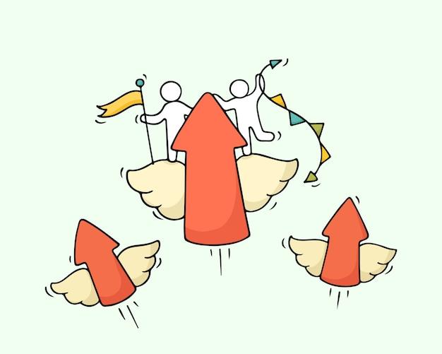 Szkic pracujących małych ludzi z latającymi strzałami.