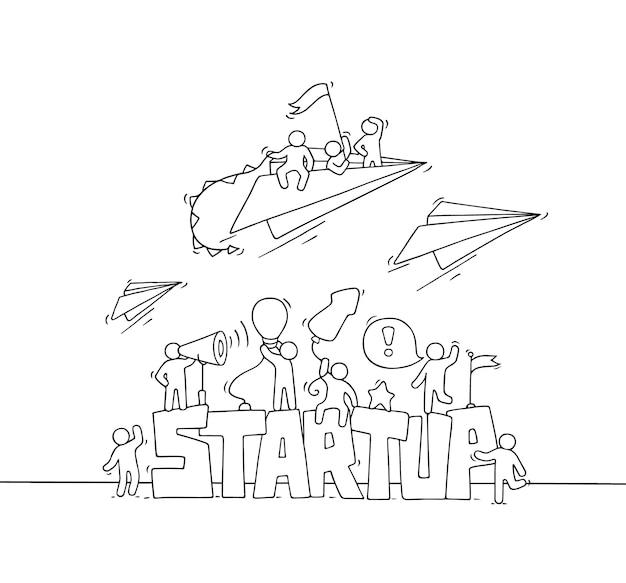Szkic pracujących małych ludzi z papierowym samolotem muchowym