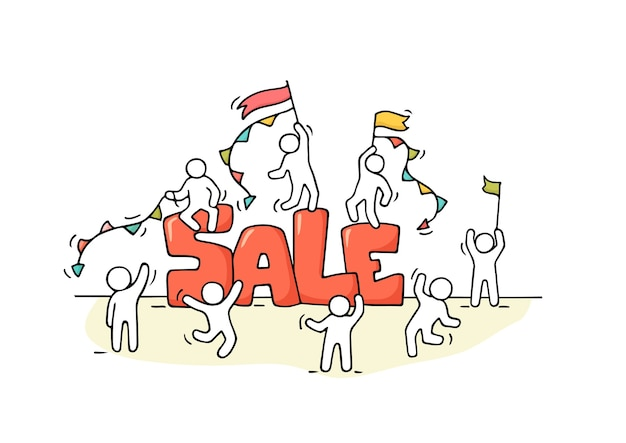 Szkic pracujących małych ludzi ze sprzedażą słów. doodle słodkie miniaturowe sceny pracowników przygotowujących się do zakupów. ręcznie rysowane kreskówki