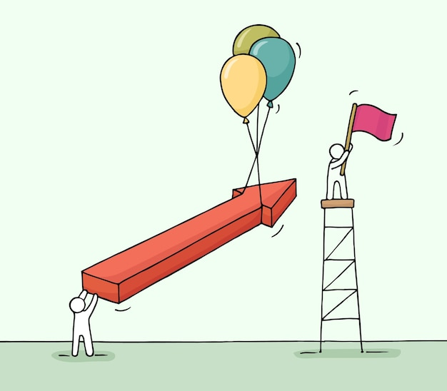 Szkic pracujących małych ludzi ze strzałką, balonami powietrznymi