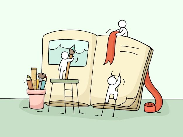 Szkic pracy małych ludzi z książką.