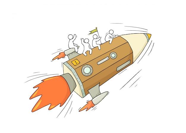 Szkic pracy małych ludzi z latającym ołówkiem.