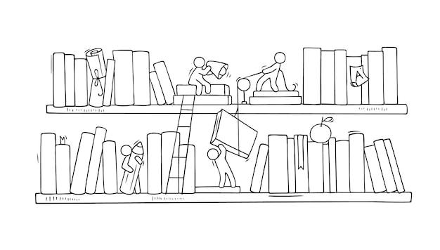 Szkic pracy zespołowej ludzi, książek, współpracy.