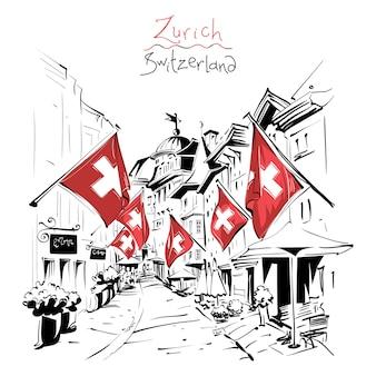 Szkic przytulnej ulicy ze szwajcarskimi flagami na starym mieście w zurychu, największym mieście szwajcarii.