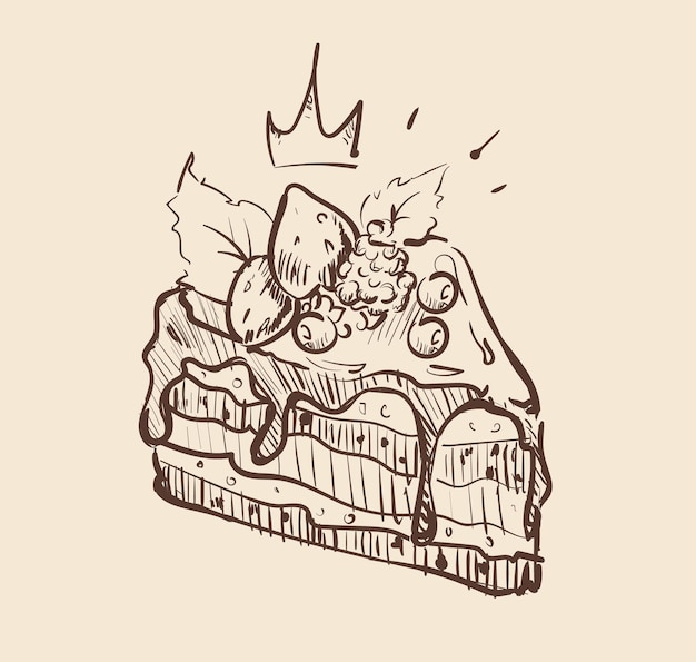 Szkic pysznego ciasta jagodowego