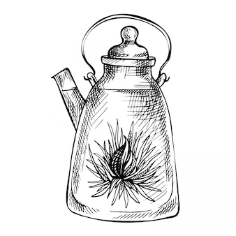 Szkic ręcznie rysowane czajnik.