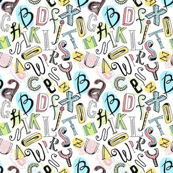 Szkic ręcznie rysowane doodle alfabetu kolorowe litery bez szwu ilustracji wektorowych deseniu