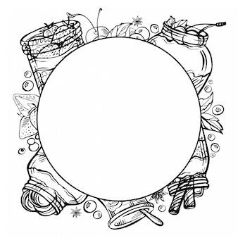 Szkic ręcznie rysowane tuszem doodle rama jogurtu z owocami, truskawkami, czekoladą, wiśnią.