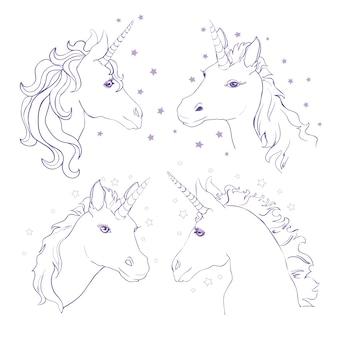 Szkic ręcznie rysowane tuszem jednorożca jednorożec koń zwierząt biała mityczna głowa konia z długim rogiem