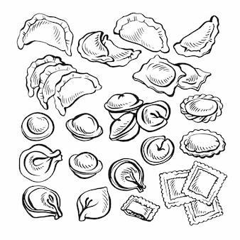 Szkic ręcznie rysowane vareniki. pelmeni. knedle z mięsem. jedzenie. gotowanie. narodowe potrawy. produkty z ciasta i mięsa.