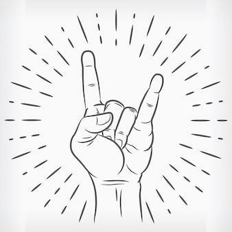 Szkic rock n roll ręka zarys doodle