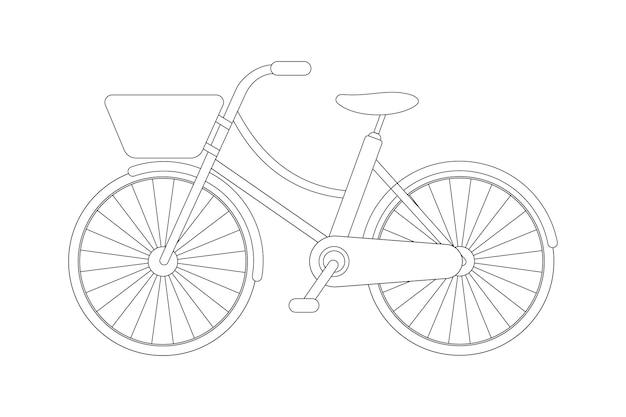 Szkic rowerowy i szablon. obrys edytowalny. ilustracja wektorowa.