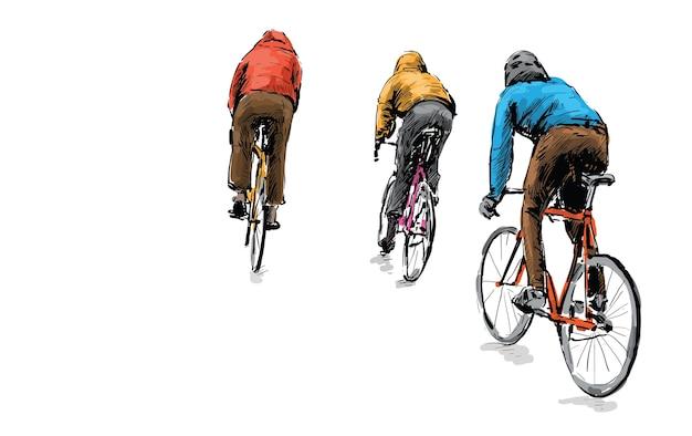Szkic rowerzysty jeżdżącego na rowerze z ostrym kołem na ulicy, ilustracja