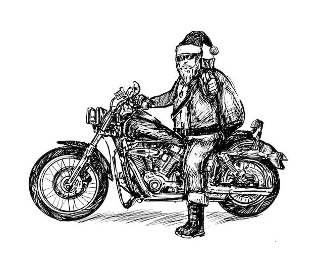 Szkic rysowania ręcznego santa mortocycle