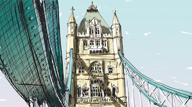 Szkic, rysunek w londynie w anglii, pokaz tower bridge, ilustracja