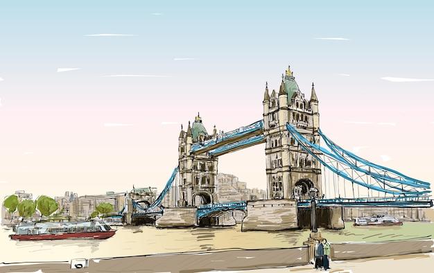 Szkic rysunku pejzażowego tower bridge, londyn, anglia, ilustracja