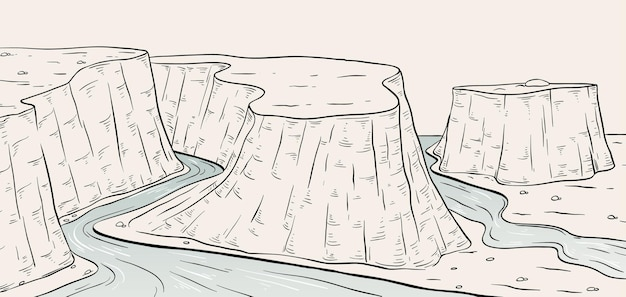 Szkic sceny krajobrazowej kanionu płaskowyżu