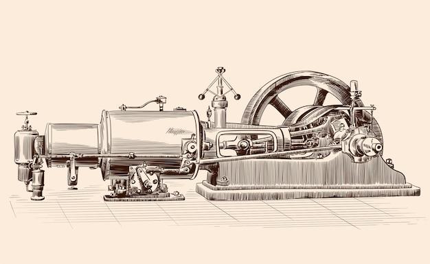 Szkic starej maszyny parowej z kotłem, kołem zamachowym i mechanizmem tłokowym.