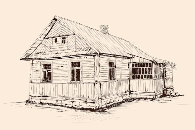 Szkic strony na beżowym tle. stary rustykalny drewniany dom na kamiennej podmurówce z dachem pokrytym dachówką.