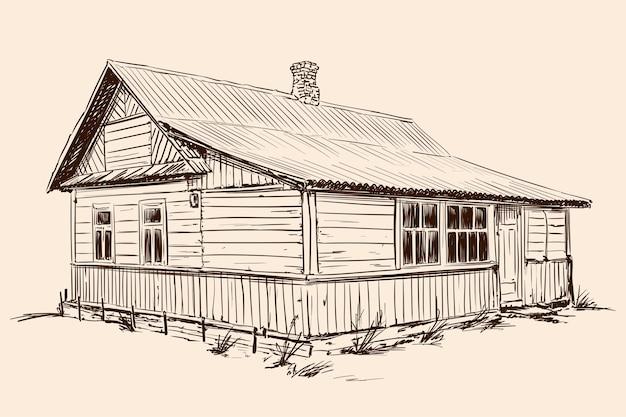 Szkic strony na beżowym tle. stary rustykalny drewniany dom w stylu rosyjskim na kamiennej podmurówce z dachem pokrytym dachówką.
