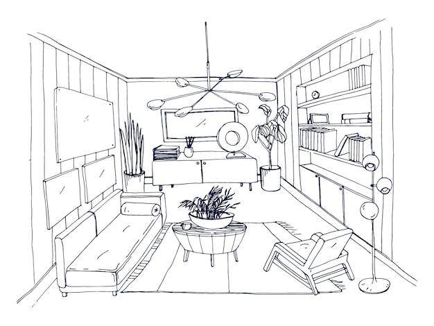 Szkic stylowego salonu pełnego mebli narysowany ręcznie konturami. monochromatyczny rysunek mieszkania urządzonego w stylu skandynawskim. nowoczesne wnętrza domu. ilustracja.