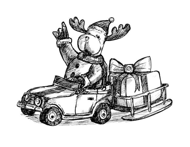 Szkic świątecznego jelenia z ręcznie rysowanym pudełkiem na prezent