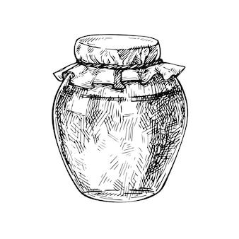 Szkic szklany słoik z galaretką z dżemem miodowym ręcznie rysowane konserwy