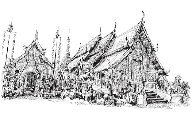 Szkic tajskiej świątyni w stylu azjatyckim w chiangmai