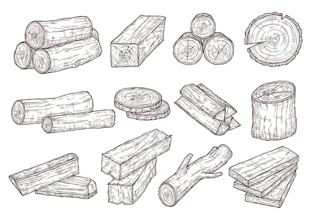 Szkic tarcicy. kłody drewna, pień i deski. leśne materiały budowlane ręcznie rysowane na białym tle zestaw. ilustracja drewno drewno, pnia drzewa cięte
