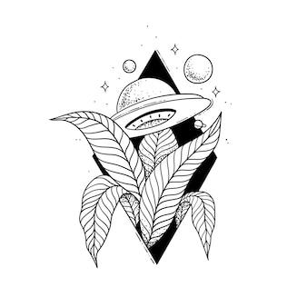 Szkic tatuażu ufo w krzakach