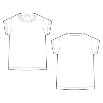 Szkic techniczne szkic dziecięca koszulka na białym tle