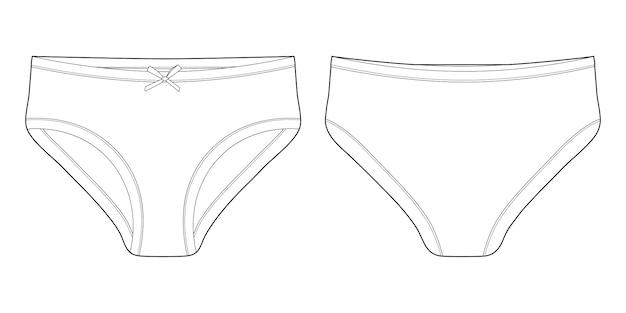 Szkic techniczny majtek dla dziewcząt. bielizna damska kobiece białe majtki.
