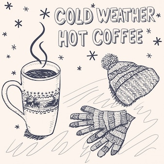 Szkic tle zimowego na kawę