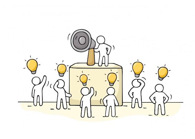 Szkic tłum małych ludzi z pomysłem na lampę.
