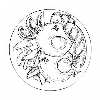 Szkic tradycyjne śniadanie. ilustracja widok z góry. angielskie, amerykańskie śniadanie ze smażonymi jajkami, kiełbasą, ziemniakami, pomidorem i ogórkiem.