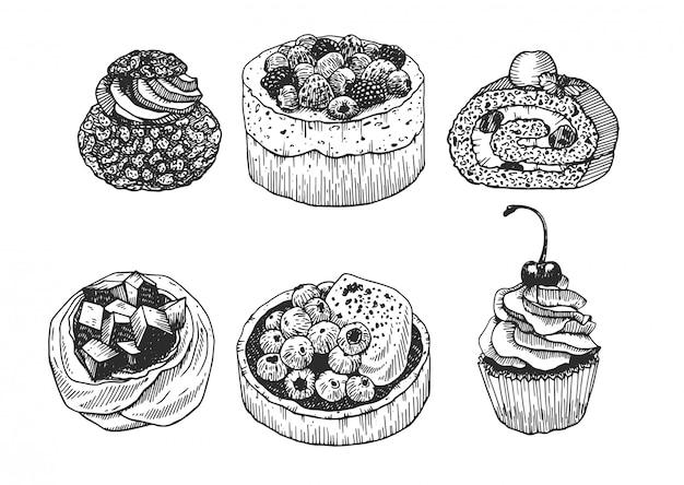 Szkic tuszem deserów. ręcznie rysowana kolekcja ciast: tarta, rolada, bezy i babeczka