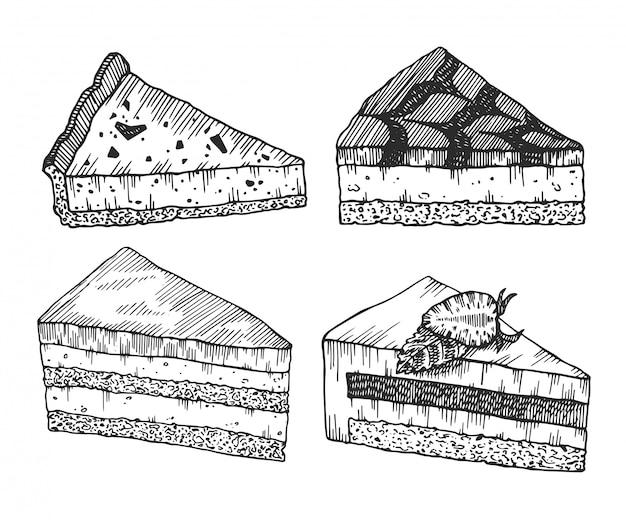 Szkic tuszem deserów. ręcznie rysowane zbiór ciast