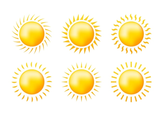 Szkic ustawić żółte słońce na białym
