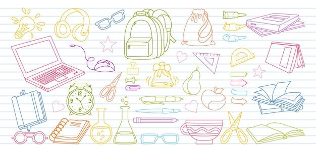 Szkic w notatniku powrót do szkoły doodle zestaw kreskówek nauka linii szkolnej pierwszy dzień wyposażenia szkoły zestaw ikon koncepcja edukacji nożyczki laptop okulary książka plecak farby zarys