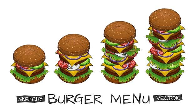 Szkic wektor strony z kolorem hamburgera i składników