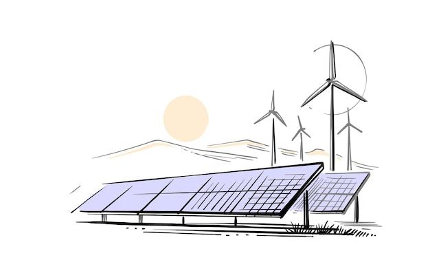 Szkic wektor turbin wiatrowych i paneli słonecznych