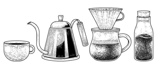 Szkic wektor zestaw narzędzi do kawy ręcznie rysowane elementy ilustracji