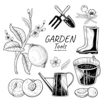 Szkic wektor zestaw narzędzi ogrodniczych ręcznie rysowane elementy illustrationts