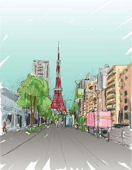 Szkic wieży tokijskiej z panoramą miasta i ulicą, ilustracja rysować odręcznie