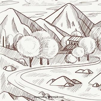 Szkic wiosnę krajobraz z gór i drzew